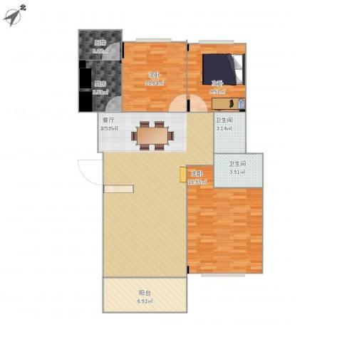 大信海岸家园3室1厅2卫2厨124.00㎡户型图