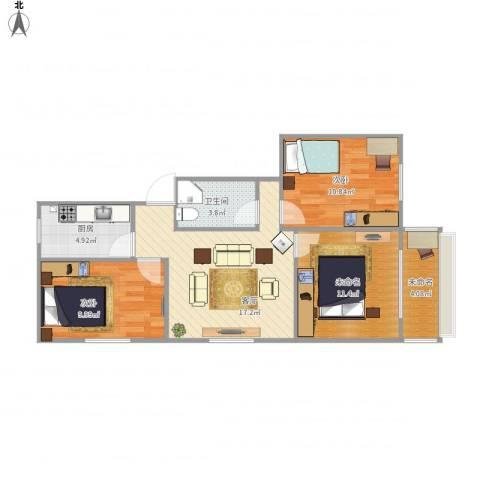 车站中里2室1厅1卫1厨85.00㎡户型图