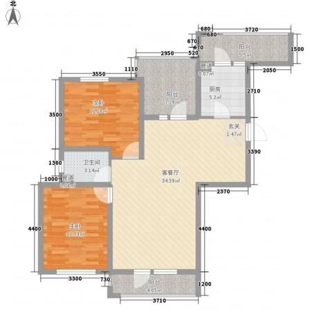 丰远・泗水玫瑰城2室1厅1卫1厨84.93㎡户型图