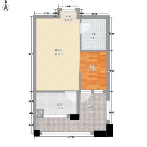 丰远・泗水玫瑰城1厅1卫1厨52.00㎡户型图