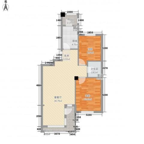 丰远・泗水玫瑰城2室1厅1卫1厨85.00㎡户型图