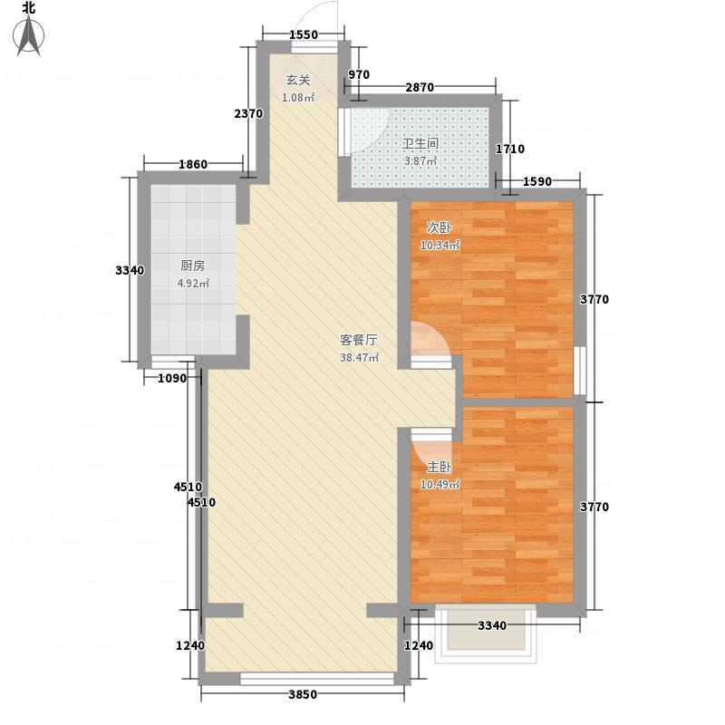 田园・清水湾二期E户型2室2厅1卫1厨