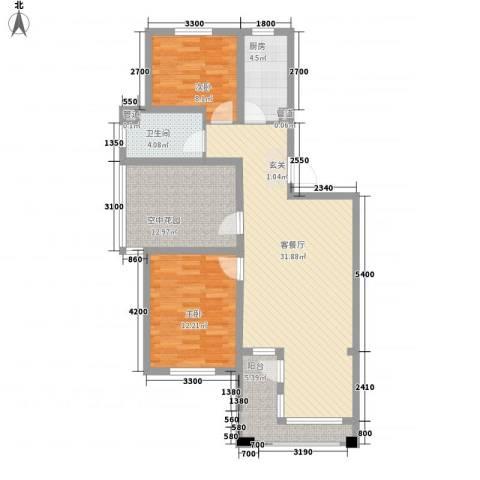 丰远・泗水玫瑰城2室1厅1卫1厨79.30㎡户型图