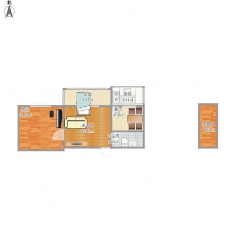 慧忠北里1室1厅1卫1厨63.00㎡户型图