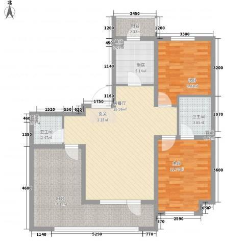 丰远・泗水玫瑰城2室1厅2卫1厨79.83㎡户型图