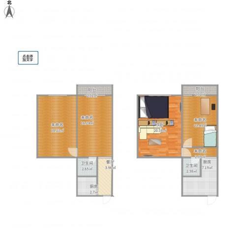 水碓子西里1室1厅2卫2厨128.00㎡户型图
