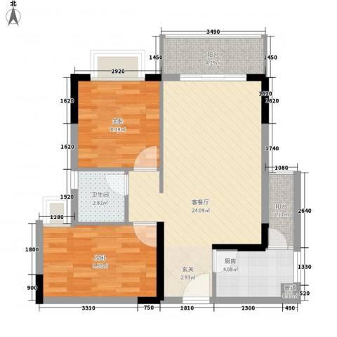 景茂国际2室1厅1卫1厨85.00㎡户型图