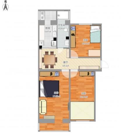 中科院中关村小区3室1厅1卫1厨85.00㎡户型图