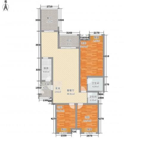 巨龙江山国际3室1厅2卫1厨160.00㎡户型图