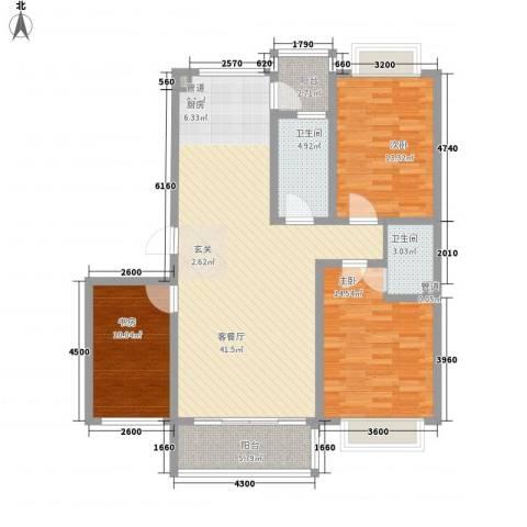华景新城3室1厅2卫0厨118.00㎡户型图