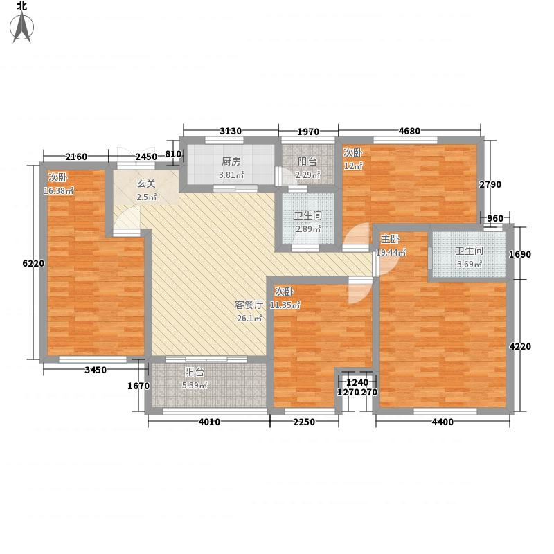 上海广场名仕新苑14.72㎡A-1型房户型4室2厅2卫1厨