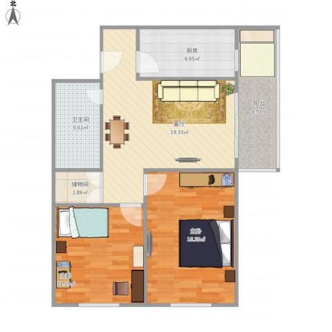 北京市东城区朝内南小街18号楼2室1厅1卫1厨89.00㎡户型图