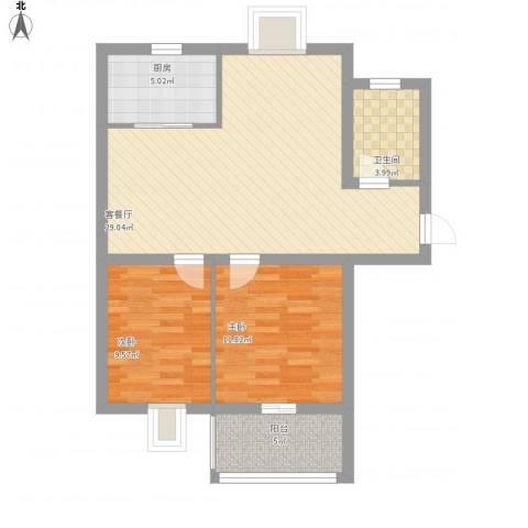 嘉怡花园2室1厅1卫1厨74.26㎡户型图