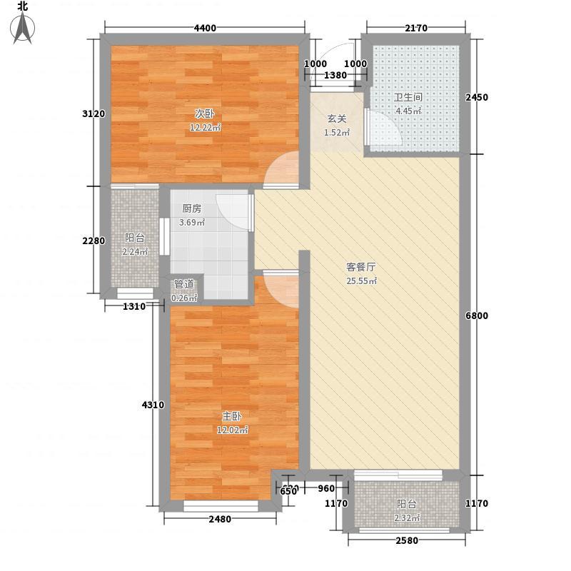 归提寨限价商品房1.70㎡D户型2室2厅1卫1厨
