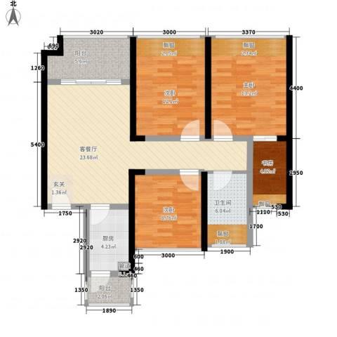 中梁v城市4室1厅1卫1厨87.00㎡户型图