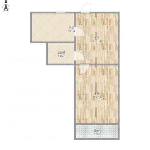 乐山小区1室1厅1卫1厨62.00㎡户型图