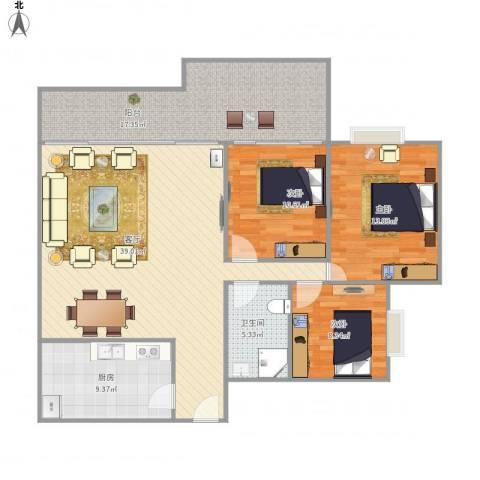澳德蓝山花园3室1厅1卫1厨139.00㎡户型图