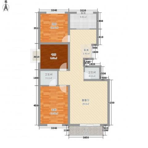 气象佳园3室1厅2卫1厨117.00㎡户型图