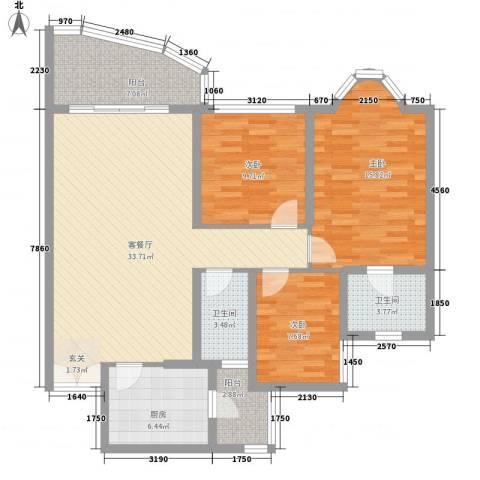 长安倚湖名居3室1厅2卫1厨130.00㎡户型图