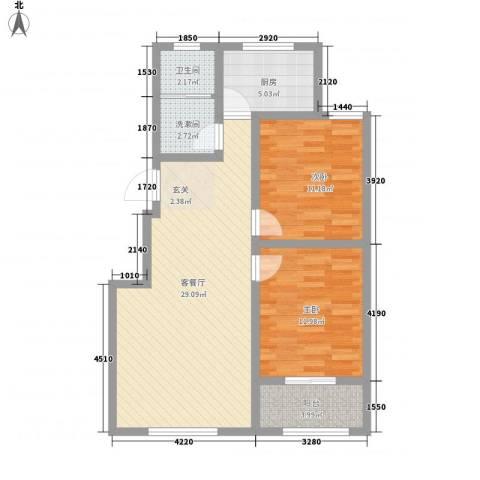 金岭花园2室1厅1卫1厨96.00㎡户型图
