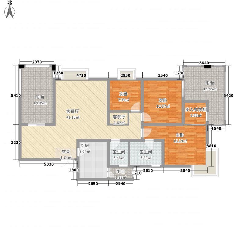 景合上城115.52㎡景合阁1号房户型3室2厅2卫1厨