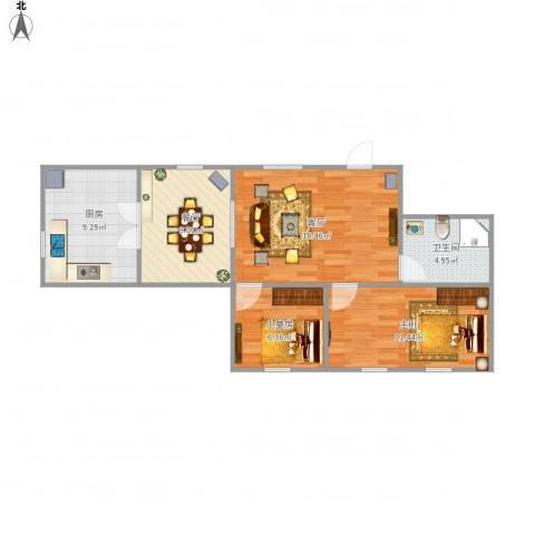 泛美华庭2室2厅1卫1厨78.00㎡户型图