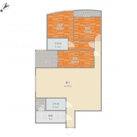 东方傲景峰-1栋22033室1厅2卫1厨191.00㎡户型图