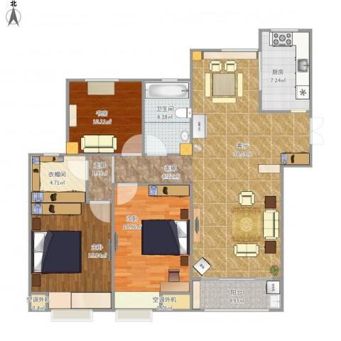 典雅花园3室1厅3卫1厨150.00㎡户型图