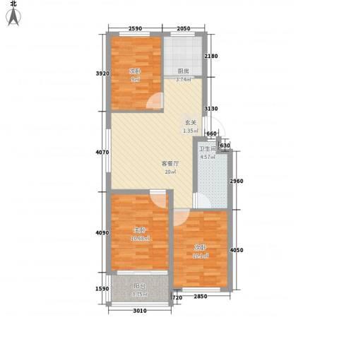 恒信宝通御园3室1厅1卫1厨89.00㎡户型图