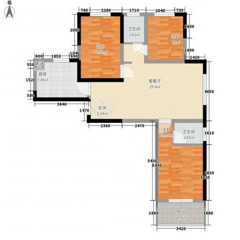 贵熙园3室1厅2卫1厨114.00㎡户型图