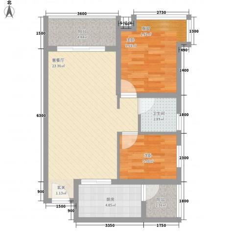 祈福海湾二期2室1厅1卫1厨75.00㎡户型图