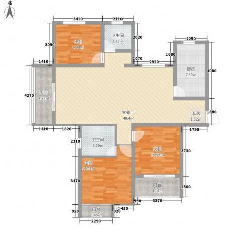 安阳义乌商贸城二期3室1厅2卫1厨142.00㎡户型图