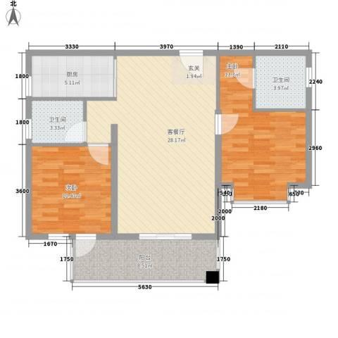 凤凰水城红树湾2室1厅2卫1厨99.00㎡户型图