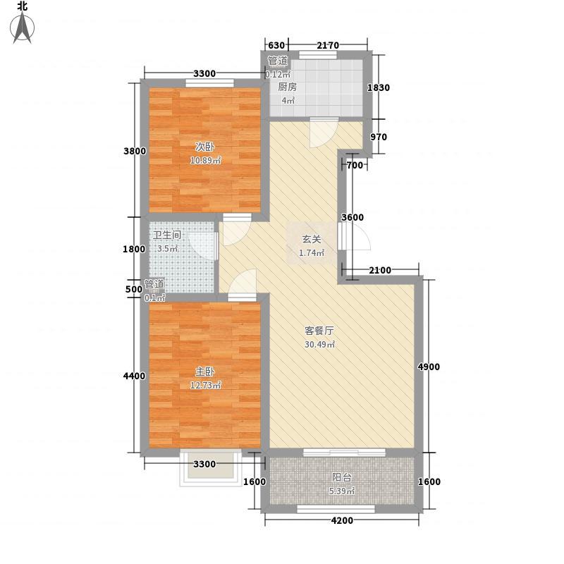 通泰观海首府8.23㎡B-4户型2室2厅1卫1厨