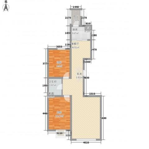 东湖丽景2室1厅1卫1厨68.39㎡户型图