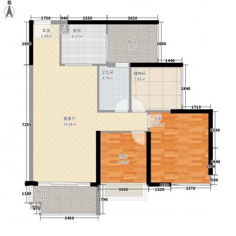 祥利上城2室1厅1卫1厨90.00㎡户型图