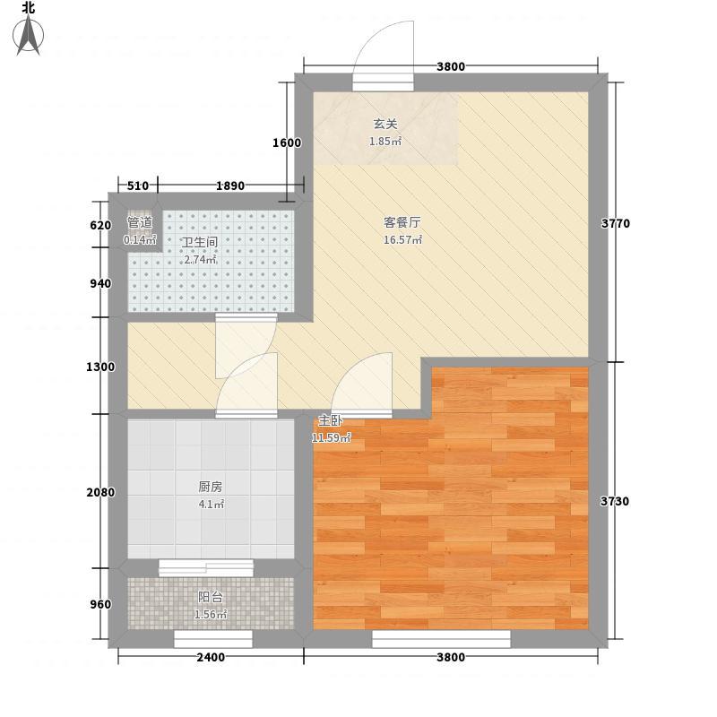 通泰观海首府54.47㎡C-1户型1室1厅1卫1厨