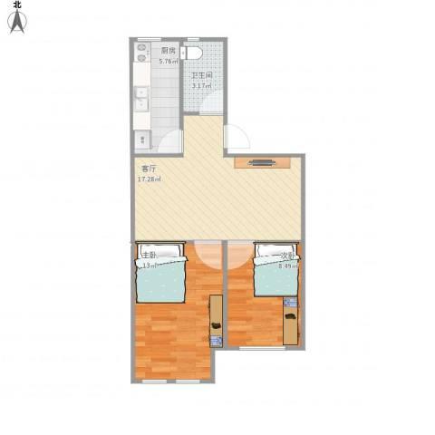 幸福东区2室1厅1卫1厨65.00㎡户型图