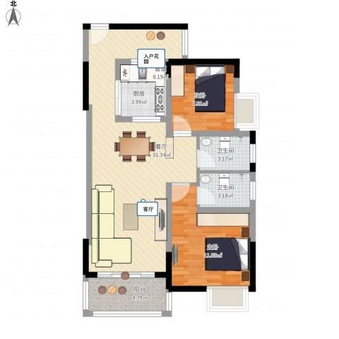 锦龙又一城二期君誉2室1厅2卫1厨97.00㎡户型图
