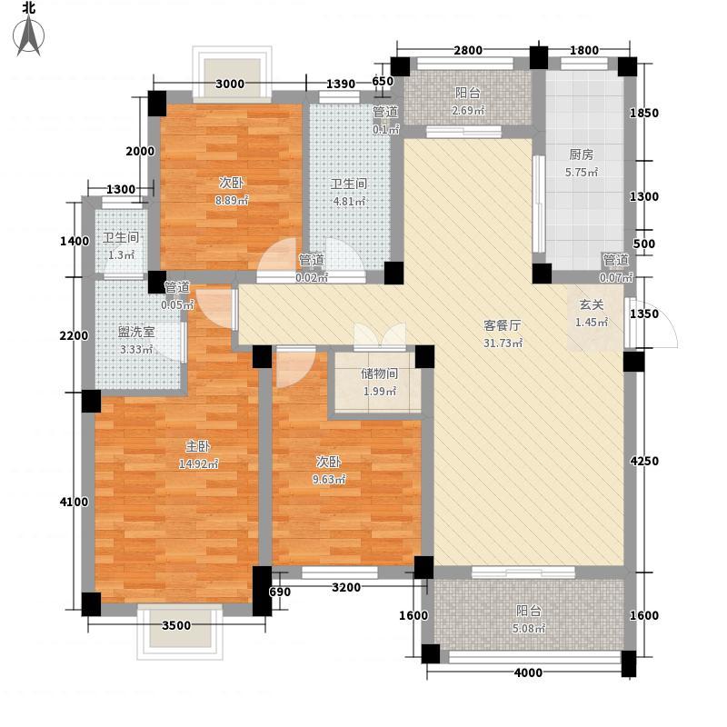 金都檀宫11.50㎡三期4#楼B1户型3室2厅2卫1厨