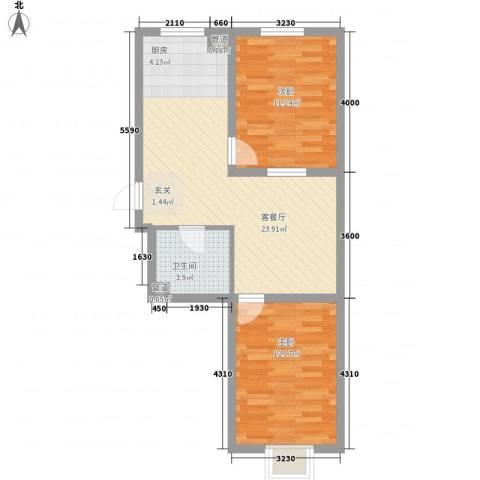 东湖丽景2室1厅1卫0厨51.44㎡户型图