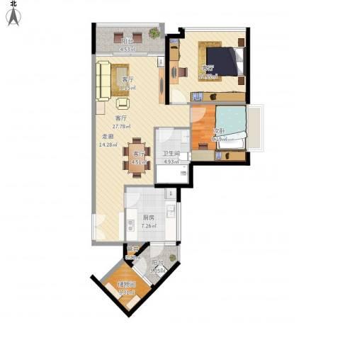 东方新世界1室2厅1卫1厨103.00㎡户型图