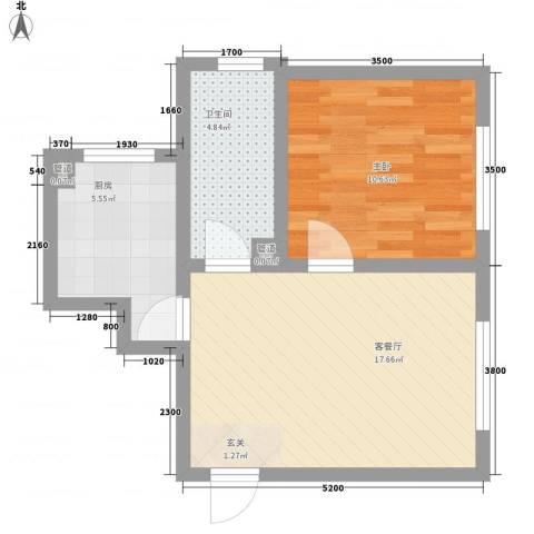 锦绣蓝湾1室1厅1卫1厨57.00㎡户型图