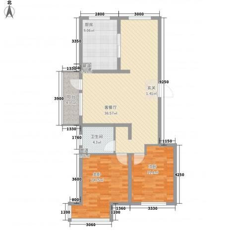 锦绣蓝湾2室1厅1卫1厨116.00㎡户型图