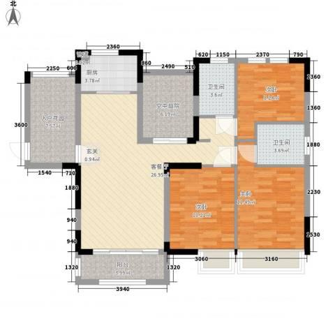 联华泉山湖3室1厅2卫1厨98.72㎡户型图