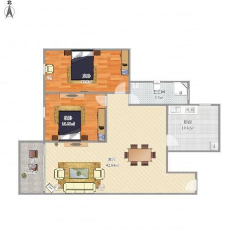 德富大厦2室1厅1卫1厨126.00㎡户型图
