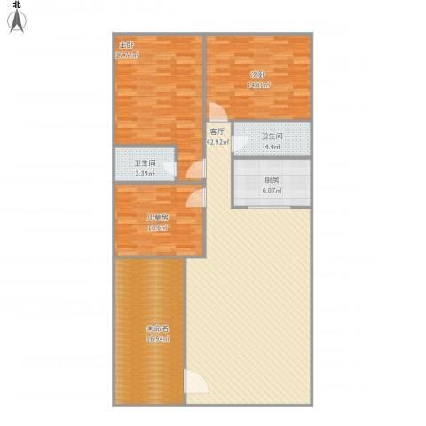 国际公馆诺丁山3室1厅2卫1厨156.00㎡户型图