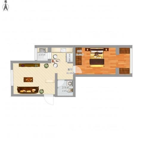 磨房南里1室1厅1卫1厨60.00㎡户型图