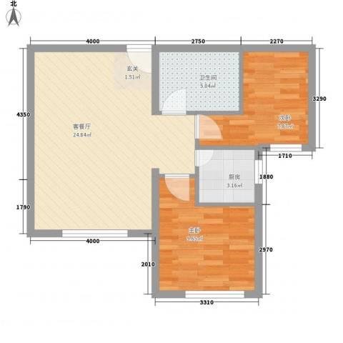 荷兰小镇二期2室1厅1卫1厨75.00㎡户型图