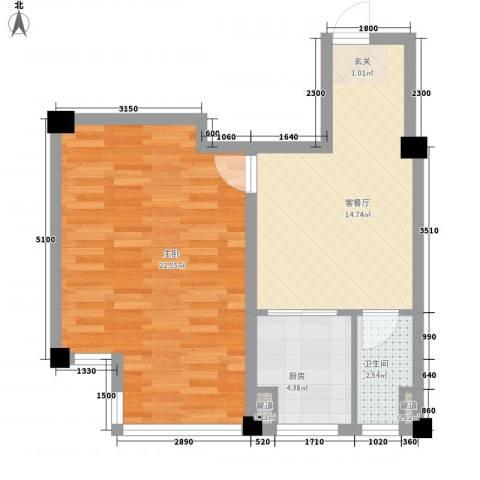 山水龙城1室1厅1卫1厨61.00㎡户型图